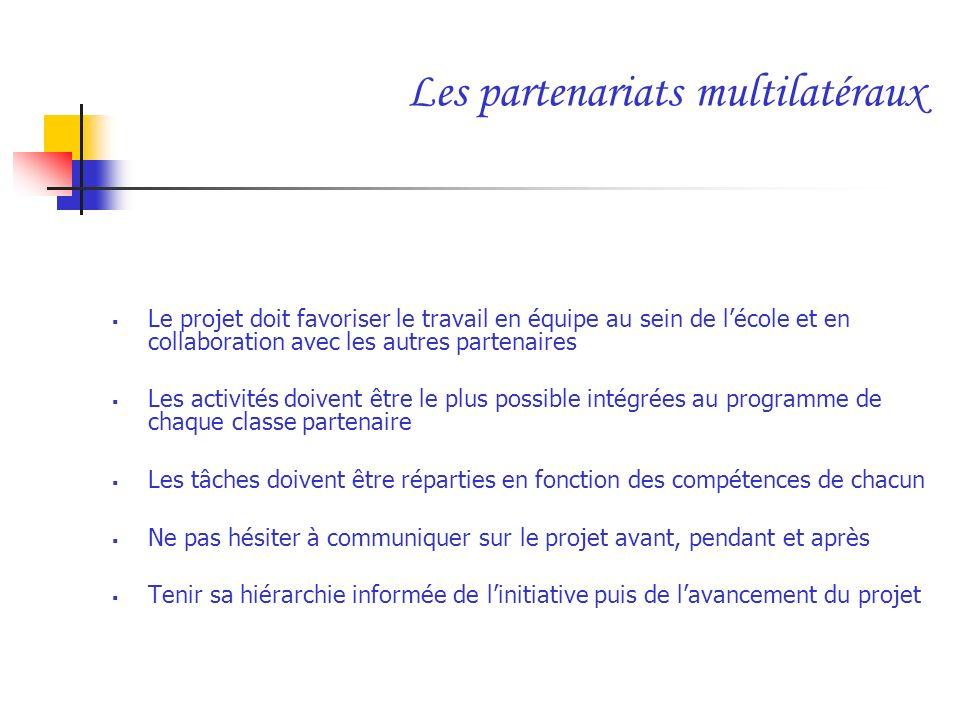 Les partenariats multilatéraux Le projet doit favoriser le travail en équipe au sein de lécole et en collaboration avec les autres partenaires Les act