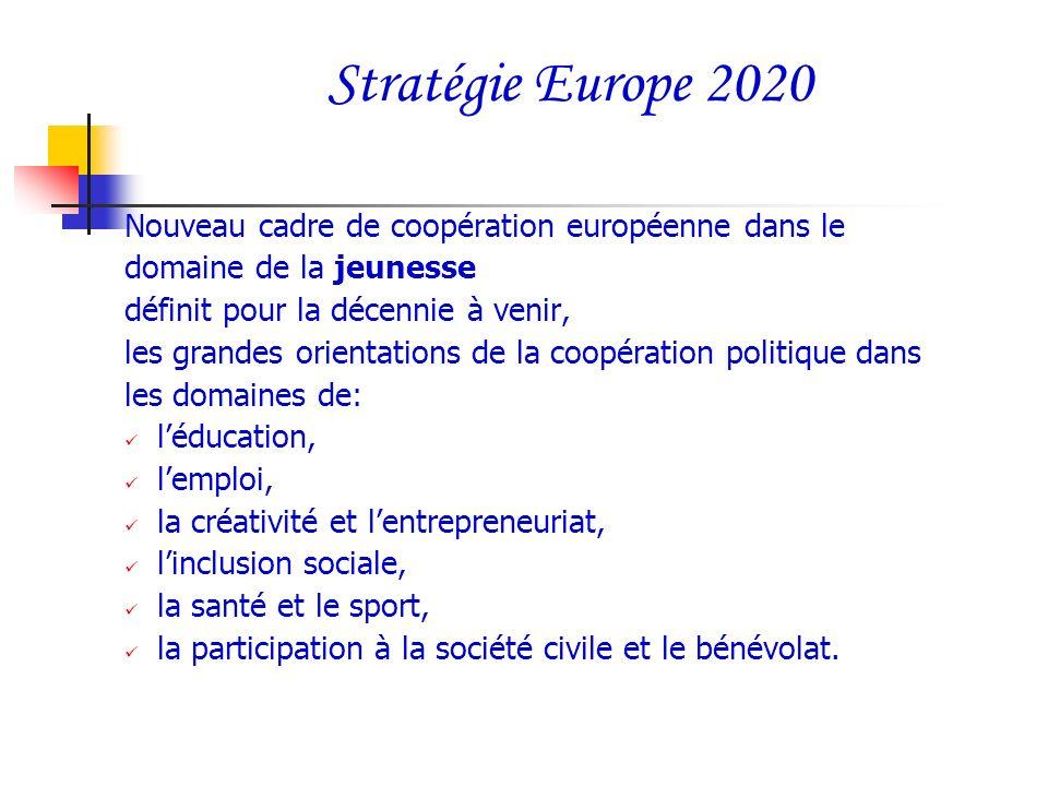 Stratégie Europe 2020 Nouveau cadre de coopération européenne dans le domaine de la jeunesse définit pour la décennie à venir, les grandes orientation