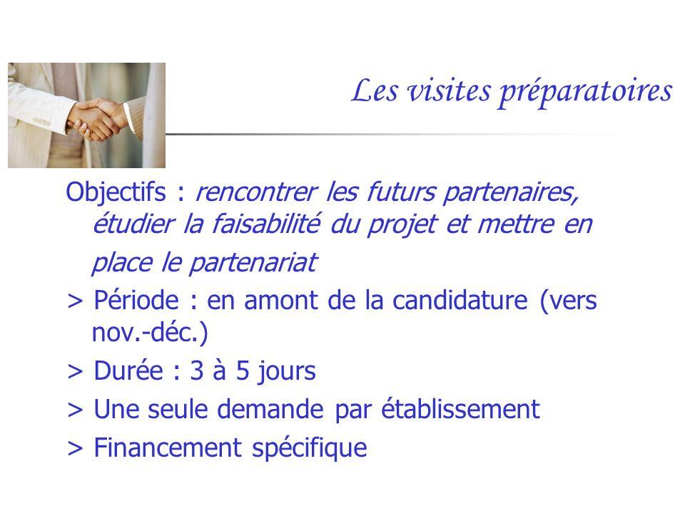 Les visites préparatoires Objectifs : rencontrer les futurs partenaires, étudier la faisabilité du projet et mettre en place le partenariat > Période