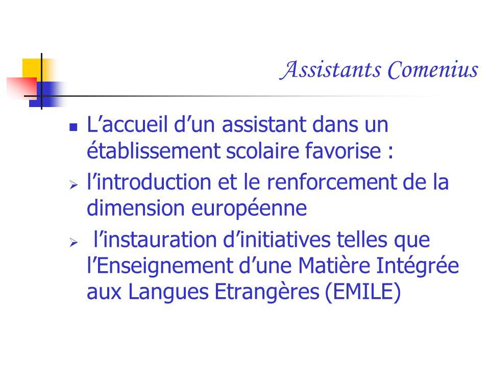 Laccueil dun assistant dans un établissement scolaire favorise : lintroduction et le renforcement de la dimension européenne linstauration dinitiative