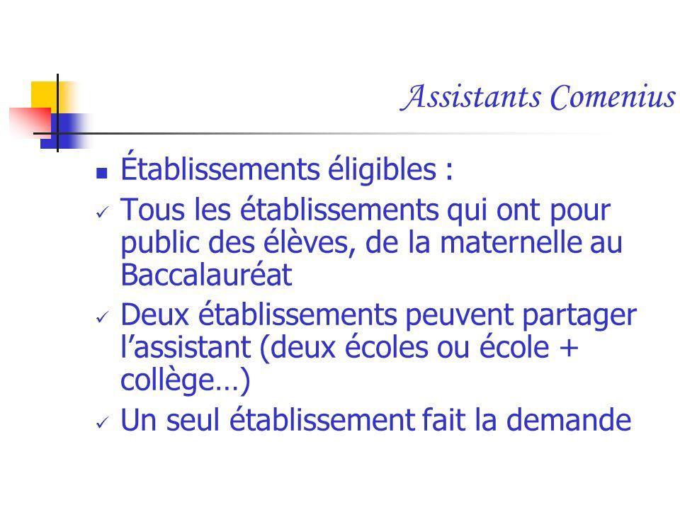 Assistants Comenius Établissements éligibles : Tous les établissements qui ont pour public des élèves, de la maternelle au Baccalauréat Deux établisse
