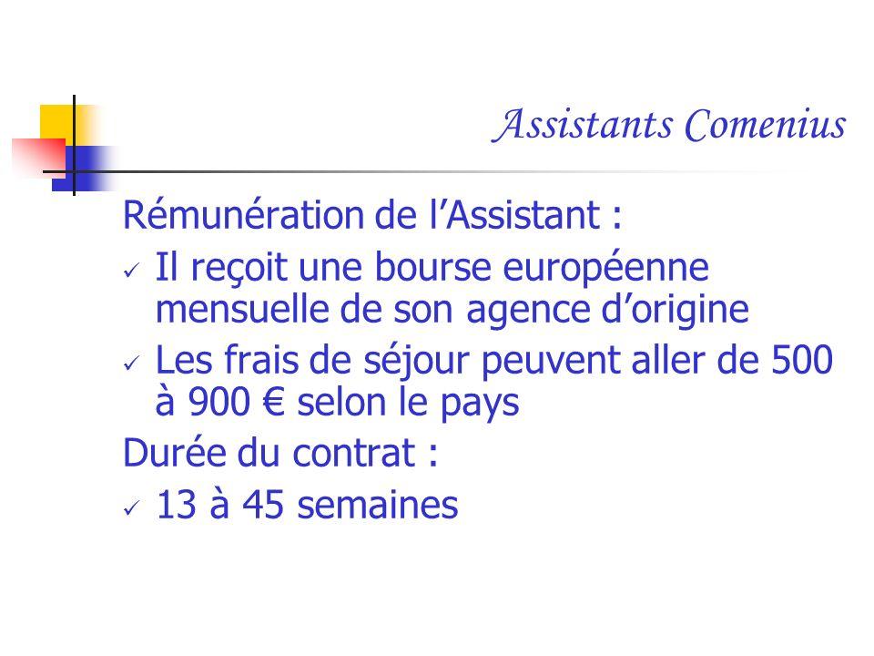 Assistants Comenius Rémunération de lAssistant : Il reçoit une bourse européenne mensuelle de son agence dorigine Les frais de séjour peuvent aller de