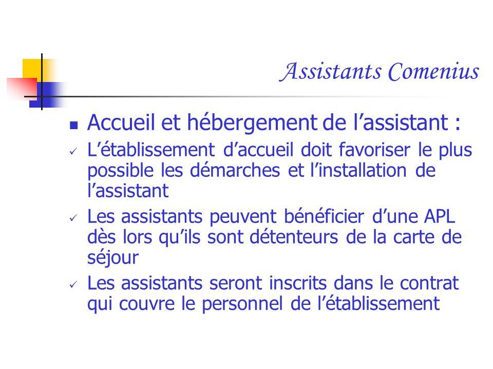 Assistants Comenius Accueil et hébergement de lassistant : Létablissement daccueil doit favoriser le plus possible les démarches et linstallation de l