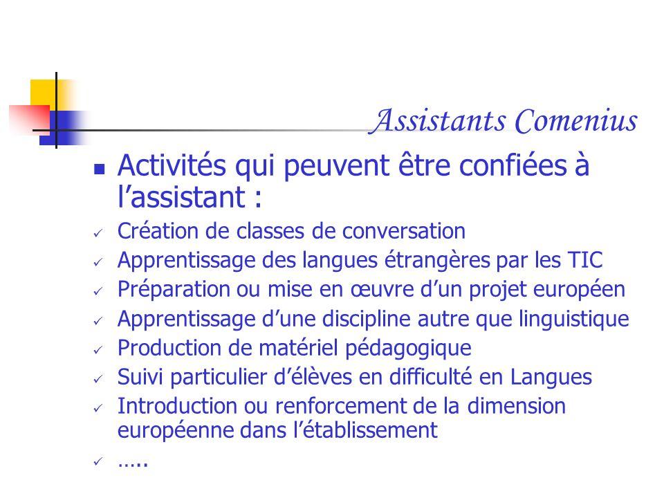 Assistants Comenius Activités qui peuvent être confiées à lassistant : Création de classes de conversation Apprentissage des langues étrangères par le
