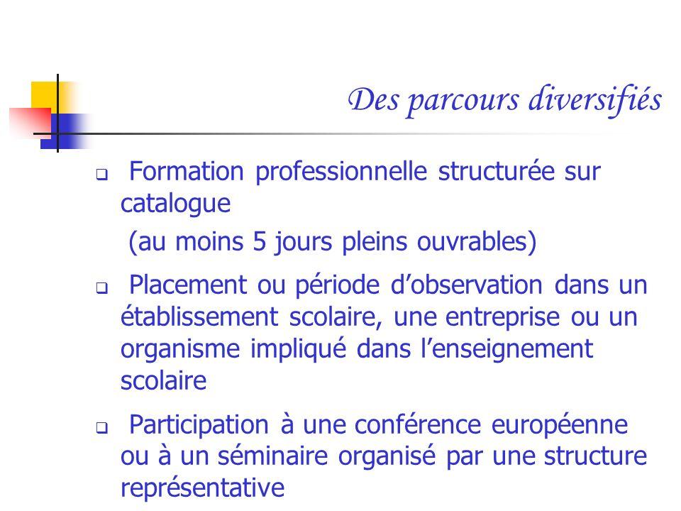 Des parcours diversifiés Formation professionnelle structurée sur catalogue (au moins 5 jours pleins ouvrables) Placement ou période dobservation dans