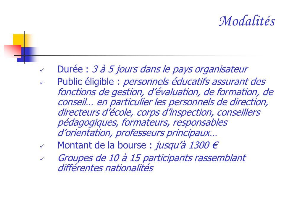 Modalités Durée : 3 à 5 jours dans le pays organisateur Public éligible : personnels éducatifs assurant des fonctions de gestion, dévaluation, de form