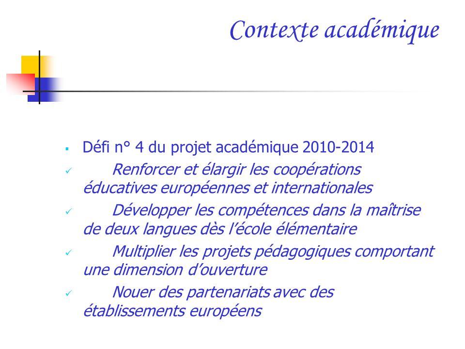 Contexte académique Défi n° 4 du projet académique 2010-2014 Renforcer et élargir les coopérations éducatives européennes et internationales Développe