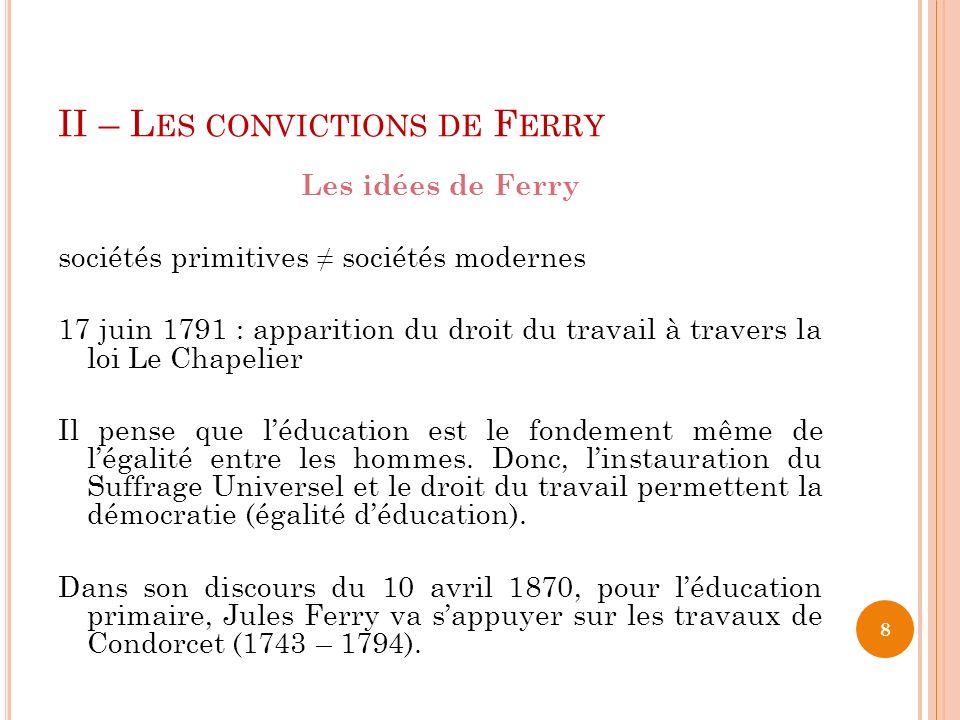Les idées de Ferry sociétés primitives sociétés modernes 17 juin 1791 : apparition du droit du travail à travers la loi Le Chapelier Il pense que léducation est le fondement même de légalité entre les hommes.