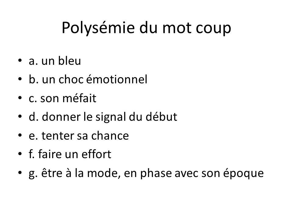 Polysémie du mot coup a. un bleu b. un choc émotionnel c. son méfait d. donner le signal du début e. tenter sa chance f. faire un effort g. être à la