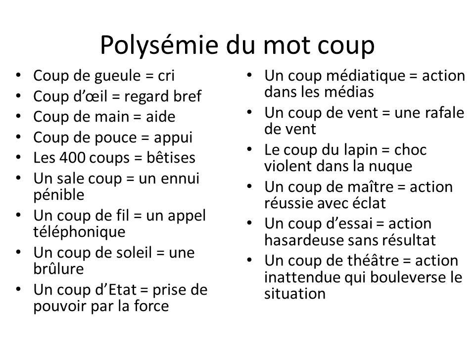 Polysémie du mot coup Coup de gueule = cri Coup dœil = regard bref Coup de main = aide Coup de pouce = appui Les 400 coups = bêtises Un sale coup = un