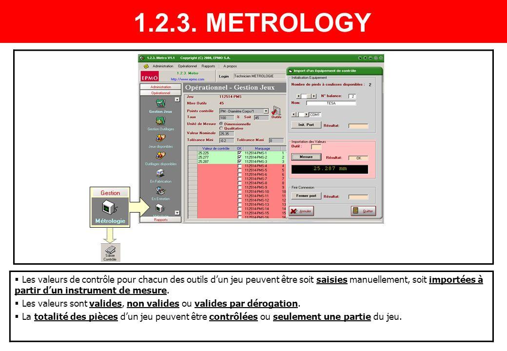 Les valeurs de contrôle pour chacun des outils dun jeu peuvent être soit saisies manuellement, soit importées à partir dun instrument de mesure. Les v