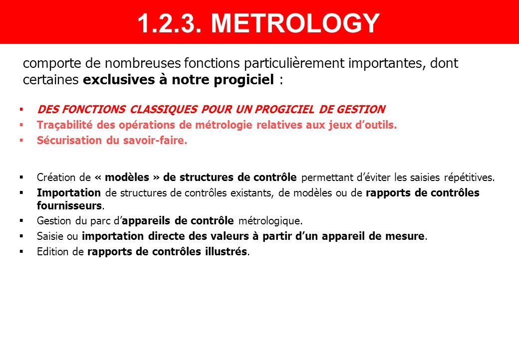 METROLOGIE Points de contrôle Modèles Contrôles Importations Saisie valeurs GESTION JEUX Création dun jeu doutils Envoi en contrôle métrologique Présentation des quelques écrans suivants… 1.2.3.