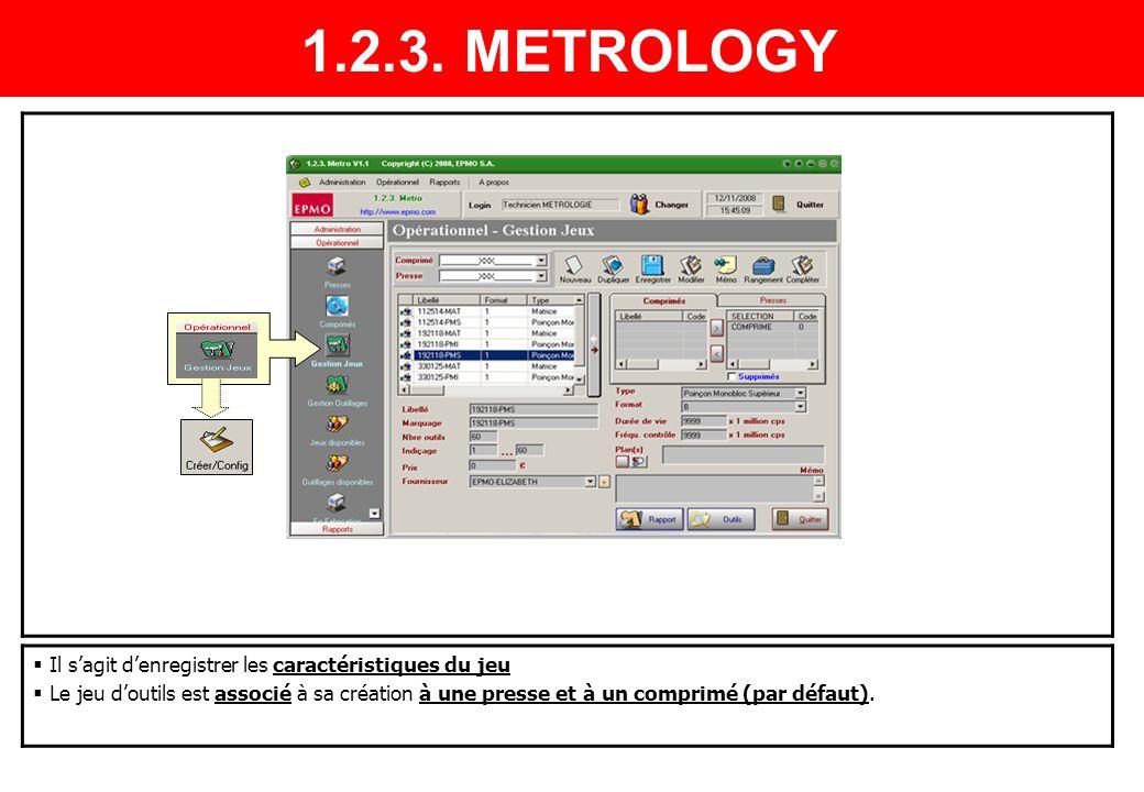 Il sagit denregistrer les caractéristiques du jeu Le jeu doutils est associé à sa création à une presse et à un comprimé (par défaut). 1.2.3. METROLOG