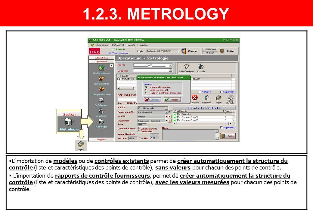 Limportation de modèles ou de contrôles existants permet de créer automatiquement la structure du contrôle (liste et caractéristiques des points de co
