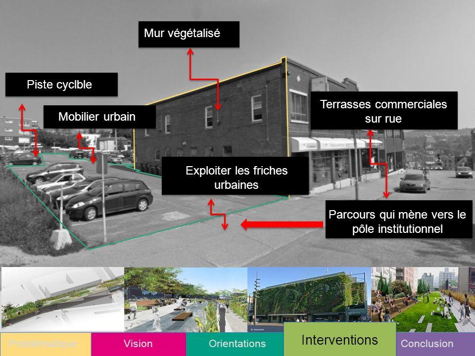 ProblématiqueVisionOrientationsConclusion Interventions Mur végétalisé Terrasses commerciales sur rue Parcours qui mène vers le pôle institutionnel Exploiter les friches urbaines Mobilier urbainPiste cyclble