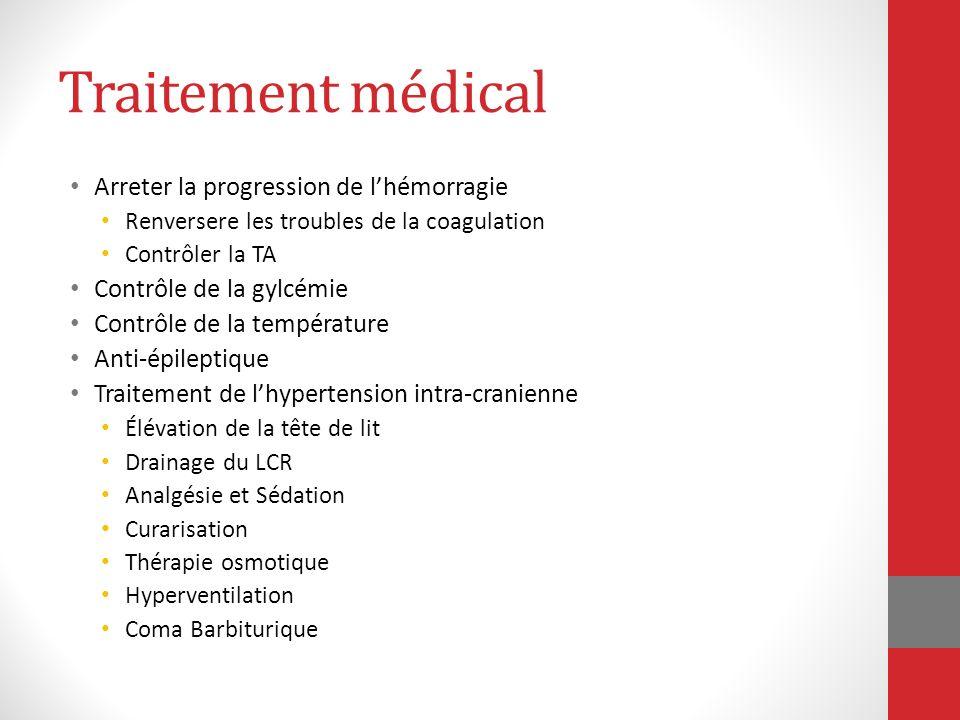 Traitement médical Arreter la progression de lhémorragie Renversere les troubles de la coagulation Contrôler la TA Contrôle de la gylcémie Contrôle de