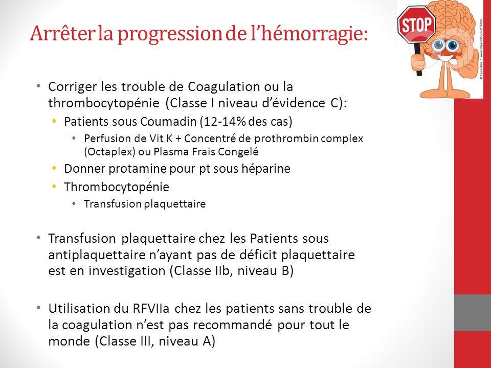 Arrêter la progression de lhémorragie: Corriger les trouble de Coagulation ou la thrombocytopénie (Classe I niveau dévidence C): Patients sous Coumadi