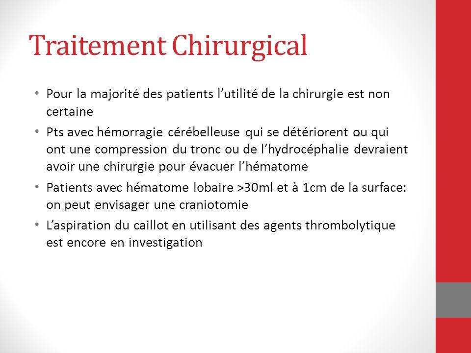 Traitement Chirurgical Pour la majorité des patients lutilité de la chirurgie est non certaine Pts avec hémorragie cérébelleuse qui se détériorent ou