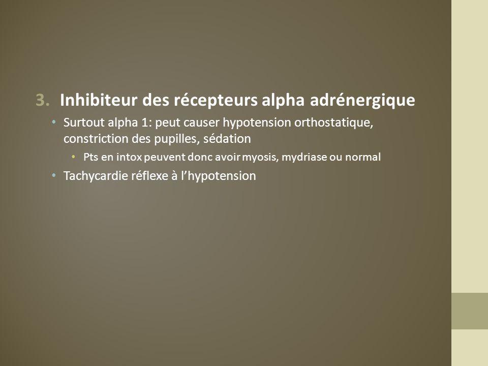 3.Inhibiteur des récepteurs alpha adrénergique Surtout alpha 1: peut causer hypotension orthostatique, constriction des pupilles, sédation Pts en into