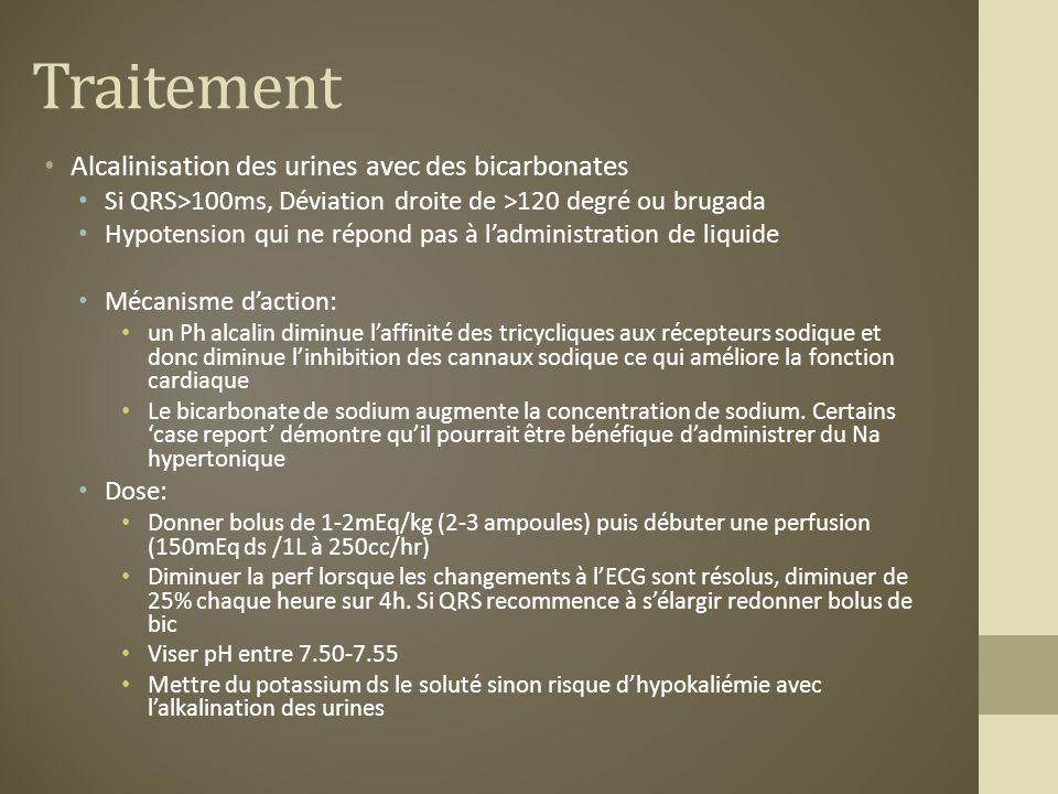 Traitement Alcalinisation des urines avec des bicarbonates Si QRS>100ms, Déviation droite de >120 degré ou brugada Hypotension qui ne répond pas à lad