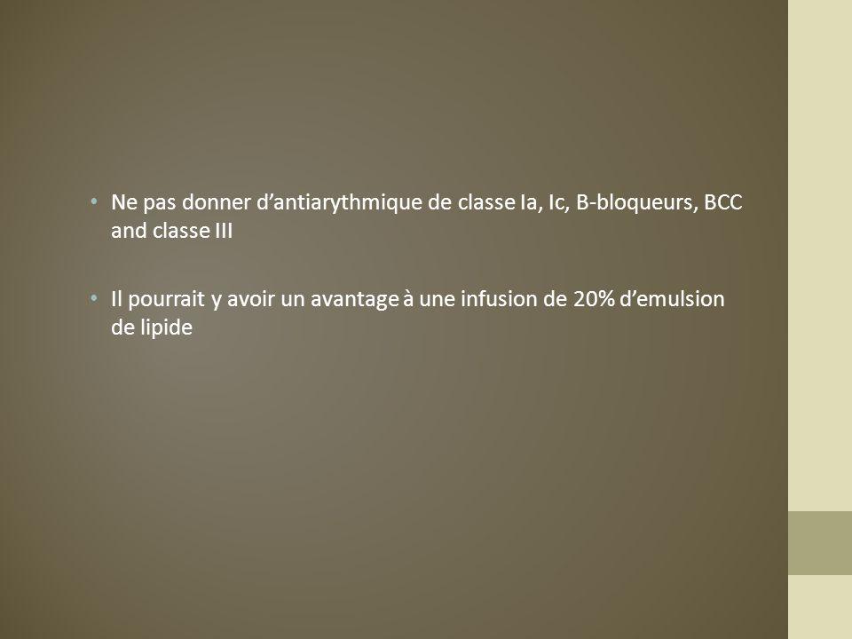 Ne pas donner dantiarythmique de classe Ia, Ic, B-bloqueurs, BCC and classe III Il pourrait y avoir un avantage à une infusion de 20% demulsion de lip