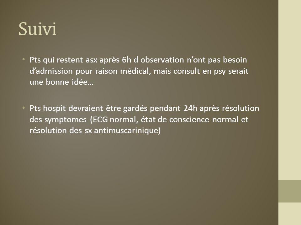 Suivi Pts qui restent asx après 6h d observation nont pas besoin dadmission pour raison médical, mais consult en psy serait une bonne idée… Pts hospit