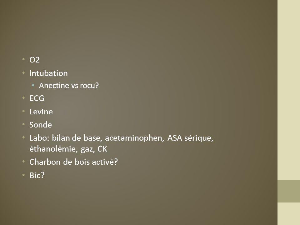 O2 Intubation Anectine vs rocu? ECG Levine Sonde Labo: bilan de base, acetaminophen, ASA sérique, éthanolémie, gaz, CK Charbon de bois activé? Bic?