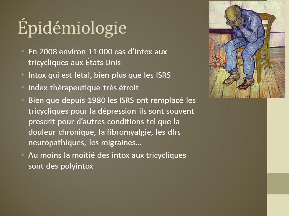 Épidémiologie En 2008 environ 11 000 cas dintox aux tricycliques aux États Unis Intox qui est létal, bien plus que les ISRS Index thérapeutique très é