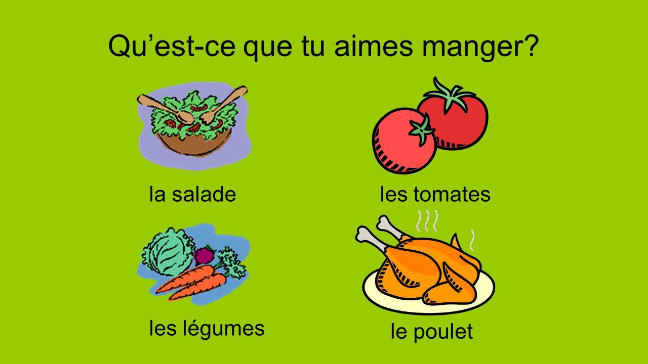 Quest-ce que tu aimes manger? la saladeles tomates les légumes le poulet