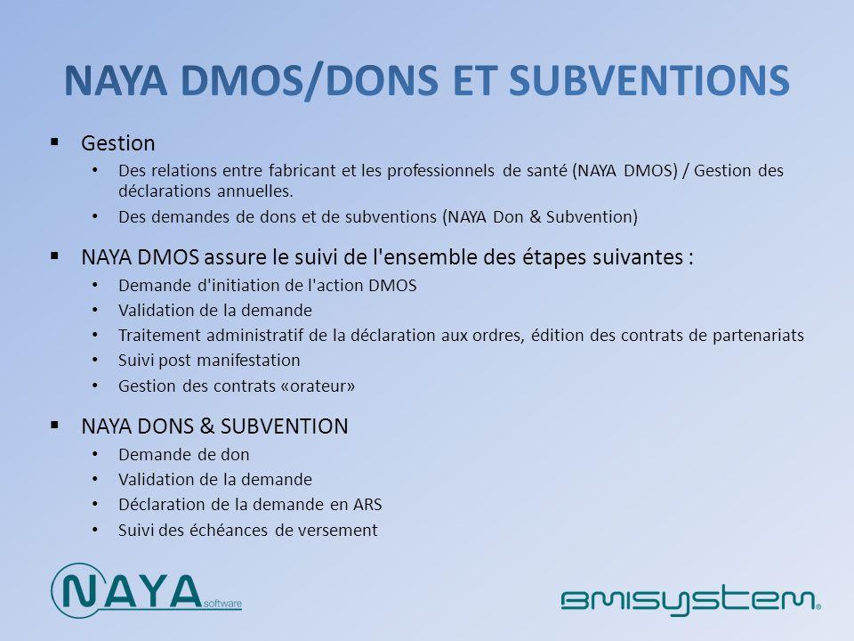 Gestion Des relations entre fabricant et les professionnels de santé (NAYA DMOS) / Gestion des déclarations annuelles. Des demandes de dons et de subv