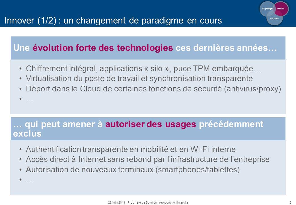5 Innover (1/2) : un changement de paradigme en cours 28 juin 2011 - Propriété de Solucom, reproduction interdite Encadrer Innover Se protéger Une évo
