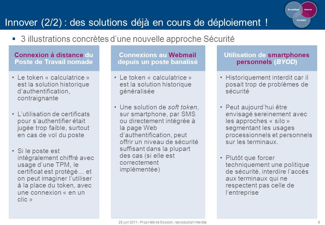 6 Innover (2/2) : des solutions déjà en cours de déploiement ! 3 illustrations concrètes dune nouvelle approche Sécurité 28 juin 2011 - Propriété de S