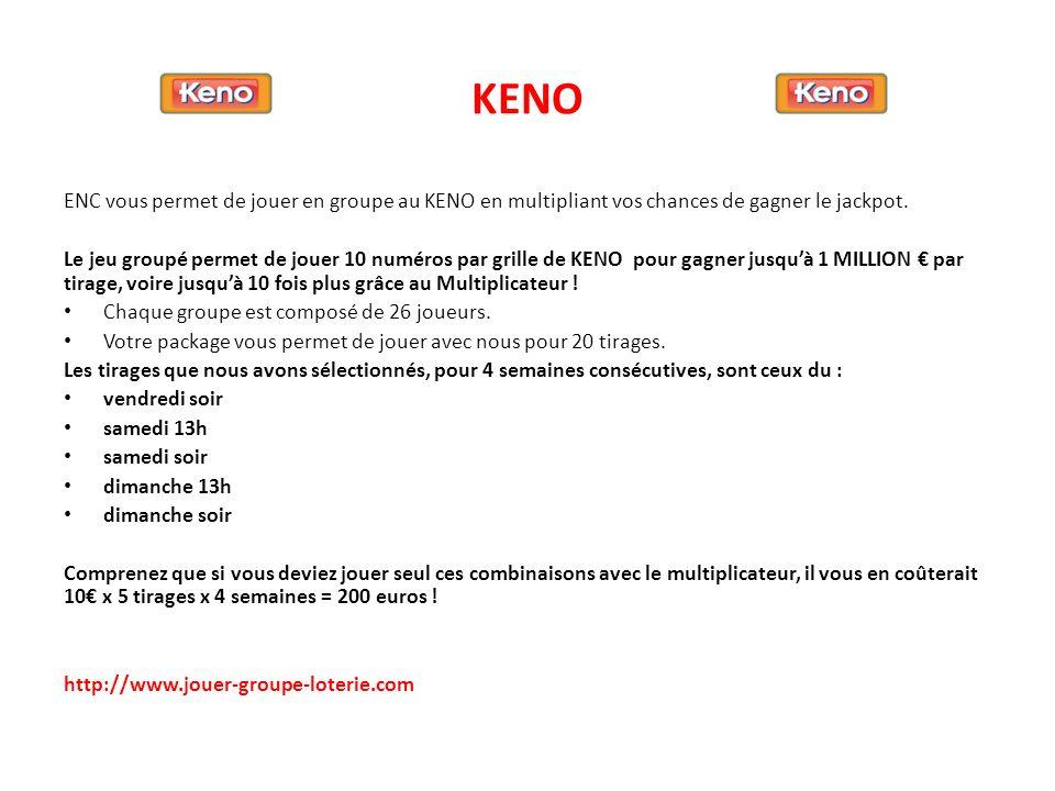 KENO ENC vous permet de jouer en groupe au KENO en multipliant vos chances de gagner le jackpot. Le jeu groupé permet de jouer 10 numéros par grille d