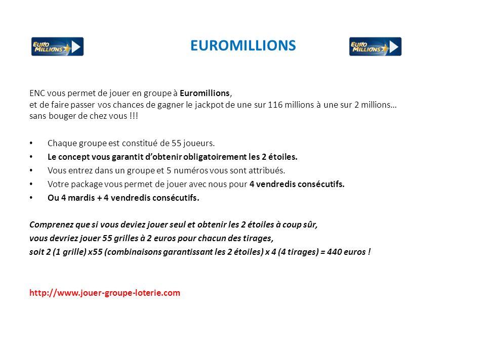 EUROMILLIONS ENC vous permet de jouer en groupe à Euromillions, et de faire passer vos chances de gagner le jackpot de une sur 116 millions à une sur