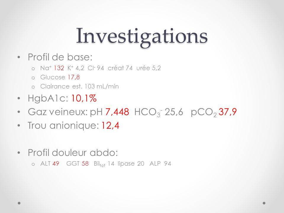 Investigations Profil de base: o Na + 132 K + 4,2 Cl - 94 créat 74 urée 5,2 o Glucose 17,8 o Clairance est.