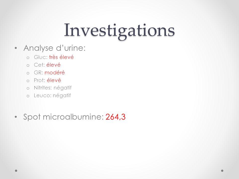 Investigations Analyse durine: o Gluc: très élevé o Cet: élevé o GR: modéré o Prot: élevé o Nitrites: négatif o Leuco: négatif Spot microalbumine: 264