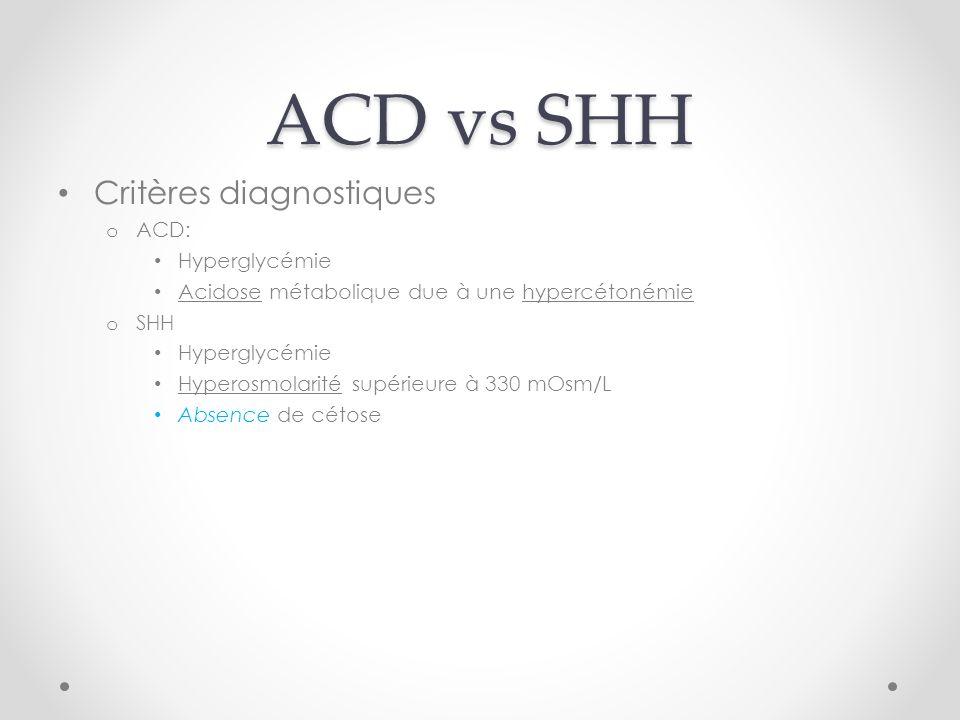 ACD vs SHH Critères diagnostiques o ACD: Hyperglycémie Acidose métabolique due à une hypercétonémie o SHH Hyperglycémie Hyperosmolarité supérieure à 330 mOsm/L Absence de cétose