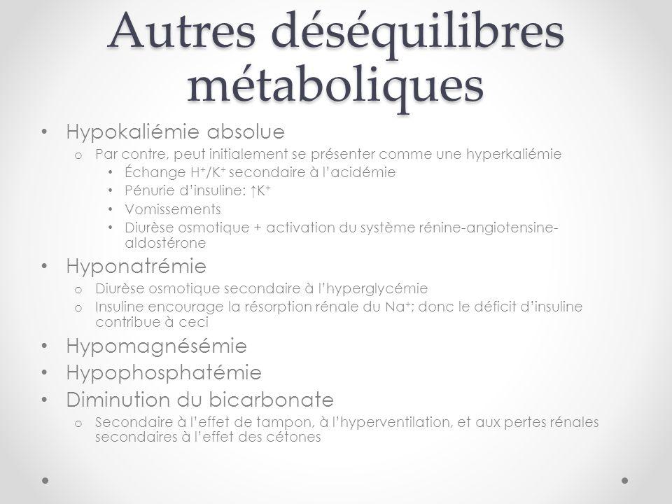 Autres déséquilibres métaboliques Hypokaliémie absolue o Par contre, peut initialement se présenter comme une hyperkaliémie Échange H + /K + secondaire à lacidémie Pénurie dinsuline: K + Vomissements Diurèse osmotique + activation du système rénine-angiotensine- aldostérone Hyponatrémie o Diurèse osmotique secondaire à lhyperglycémie o Insuline encourage la résorption rénale du Na + ; donc le déficit dinsuline contribue à ceci Hypomagnésémie Hypophosphatémie Diminution du bicarbonate o Secondaire à leffet de tampon, à lhyperventilation, et aux pertes rénales secondaires à leffet des cétones