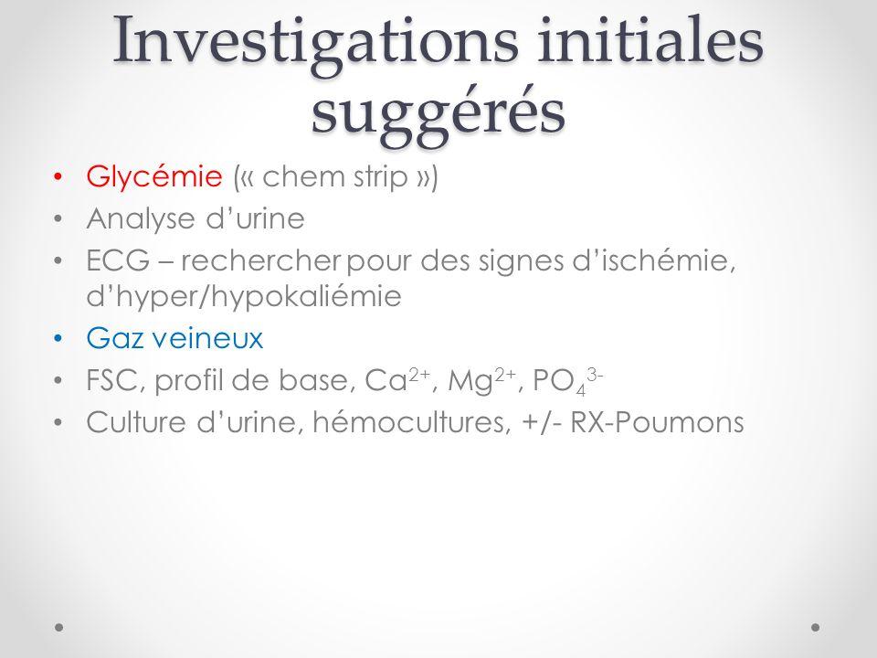 Investigations initiales suggérés Glycémie (« chem strip ») Analyse durine ECG – rechercher pour des signes dischémie, dhyper/hypokaliémie Gaz veineux FSC, profil de base, Ca 2+, Mg 2+, PO 4 3- Culture durine, hémocultures, +/- RX-Poumons