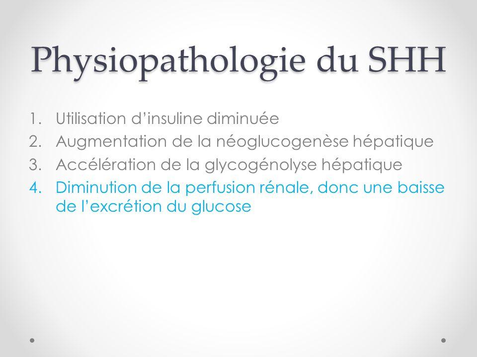 Physiopathologie du SHH 1.Utilisation dinsuline diminuée 2.Augmentation de la néoglucogenèse hépatique 3.Accélération de la glycogénolyse hépatique 4.Diminution de la perfusion rénale, donc une baisse de lexcrétion du glucose