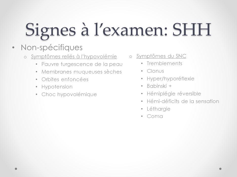 Signes à lexamen: SHH o Symptômes du SNC Tremblements Clonus Hyper/hyporéflexie Babinski + Hémiplégie réversible Hémi-déficits de la sensation Létharg