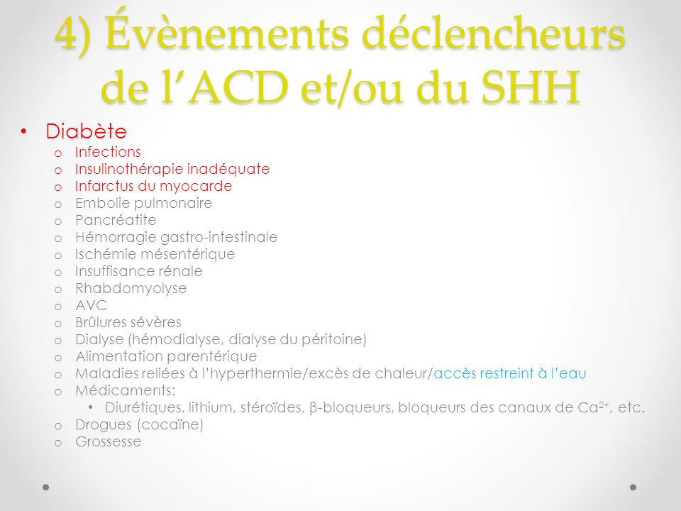 4) Évènements déclencheurs de lACD et/ou du SHH Diabète o Infections o Insulinothérapie inadéquate o Infarctus du myocarde o Embolie pulmonaire o Pancréatite o Hémorragie gastro-intestinale o Ischémie mésentérique o Insuffisance rénale o Rhabdomyolyse o AVC o Brûlures sévères o Dialyse (hémodialyse, dialyse du péritoine) o Alimentation parentérique o Maladies reliées à lhyperthermie/excès de chaleur/accès restreint à leau o Médicaments: Diurétiques, lithium, stéroïdes, β-bloqueurs, bloqueurs des canaux de Ca 2+, etc.