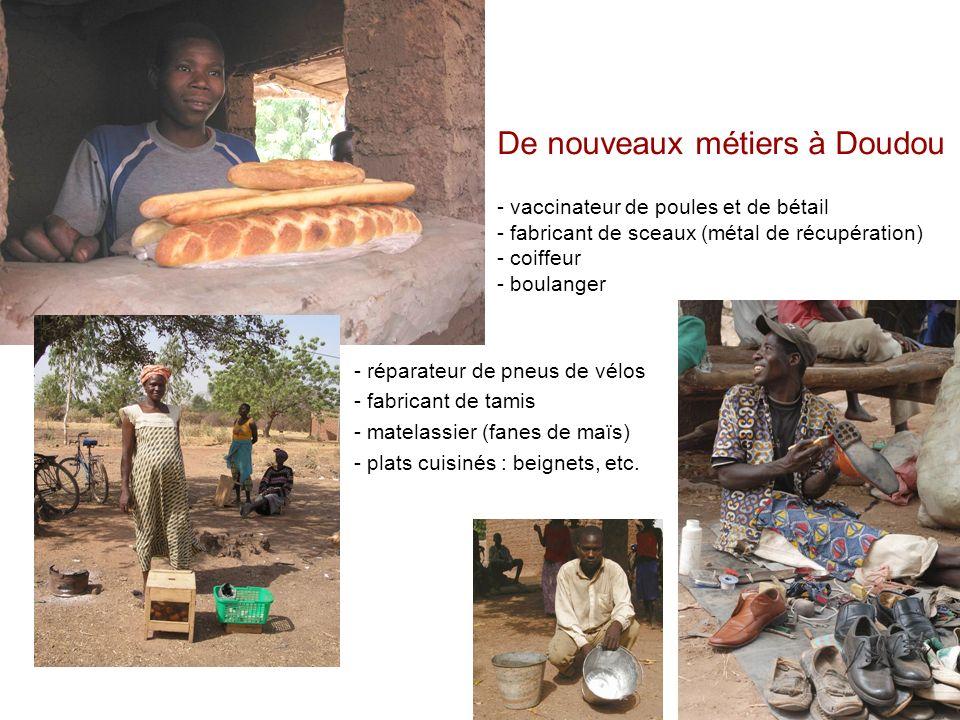 - réparateur de pneus de vélos - fabricant de tamis - matelassier (fanes de maïs) - plats cuisinés : beignets, etc. De nouveaux métiers à Doudou - vac