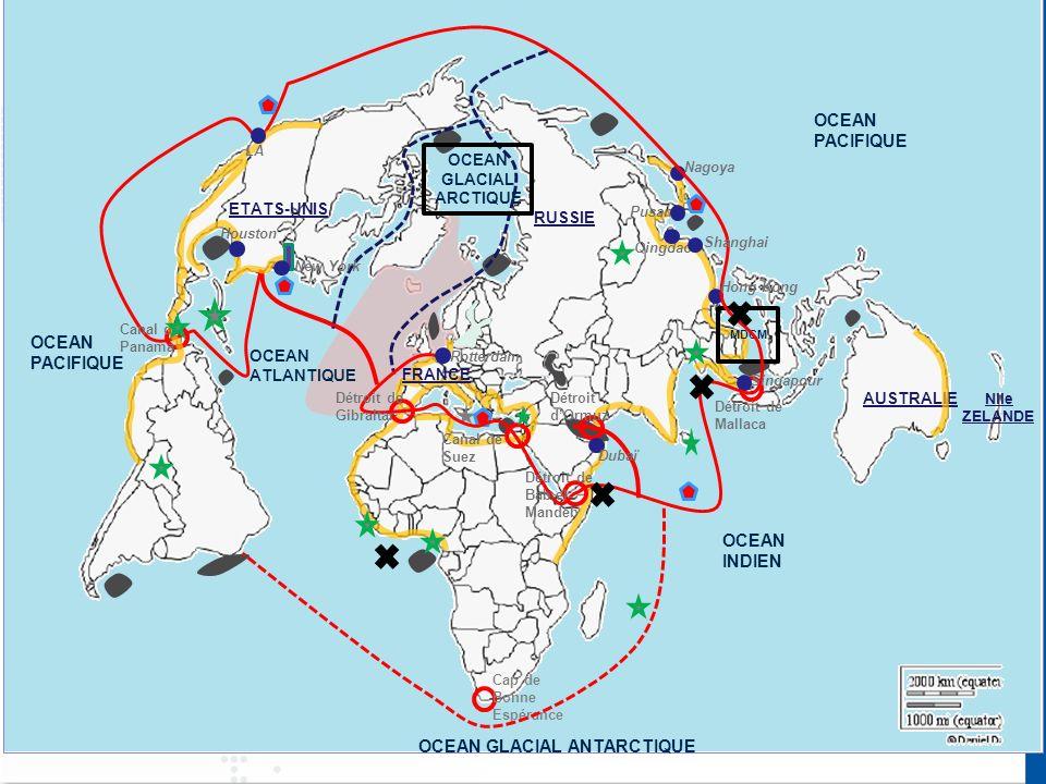 Qingdao Pusan OCEAN PACIFIQUE OCEAN ATLANTIQUE OCEAN INDIEN OCEAN PACIFIQUE OCEAN GLACIAL ANTARCTIQUE ETATS-UNIS Nlle ZELANDE AUSTRALIE RUSSIE OCEAN GLACIAL ARCTIQUE MDCM FRANCE New York Houston LA Rotterdam Singapour Dubaï Hong Kong Shanghai Nagoya Canal de Panama Détroit de Gibraltar Canal de Suez Détroit de Bab-el- Mandeb Détroit dOrmuz Détroit de Mallaca Cap de Bonne Espérance