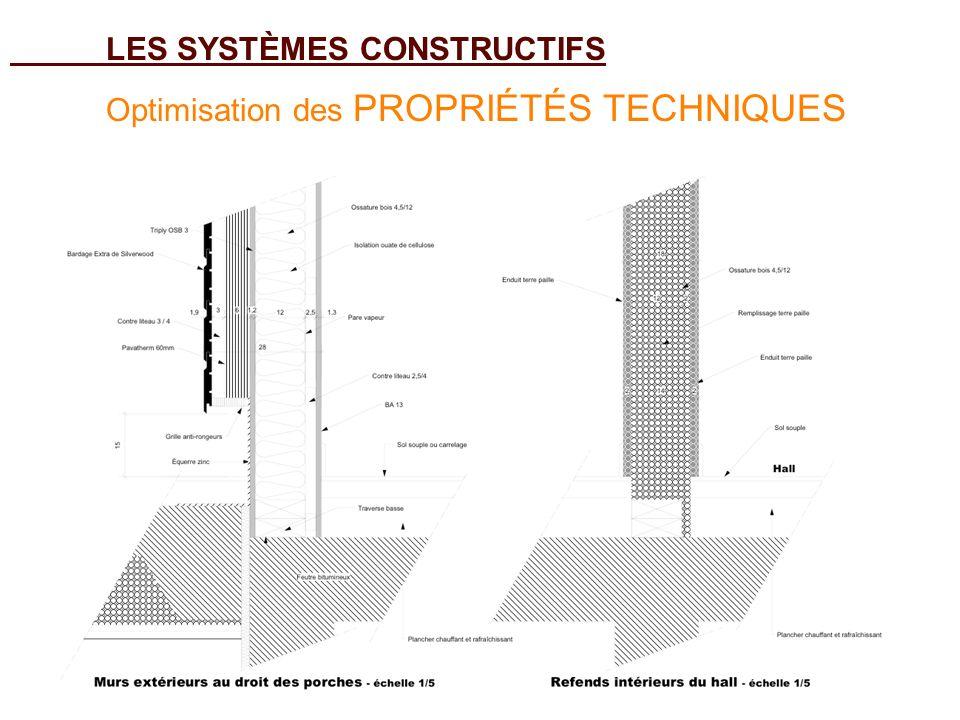 LES SYSTÈMES CONSTRUCTIFS Optimisation des PROPRIÉTÉS TECHNIQUES