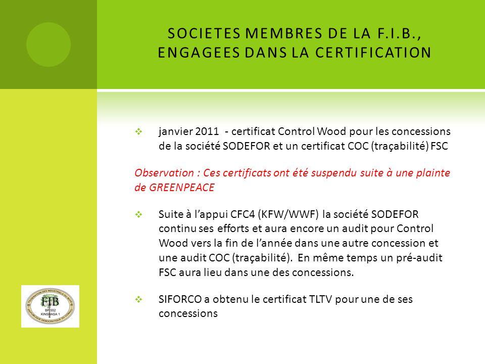 SOCIETES MEMBRES DE LA F.I.B., ENGAGEES DANS LA CERTIFICATION janvier 2011 - certificat Control Wood pour les concessions de la société SODEFOR et un certificat COC (traçabilité) FSC Observation : Ces certificats ont été suspendu suite à une plainte de GREENPEACE Suite à lappui CFC4 (KFW/WWF) la société SODEFOR continu ses efforts et aura encore un audit pour Control Wood vers la fin de lannée dans une autre concession et une audit COC (traçabilité).