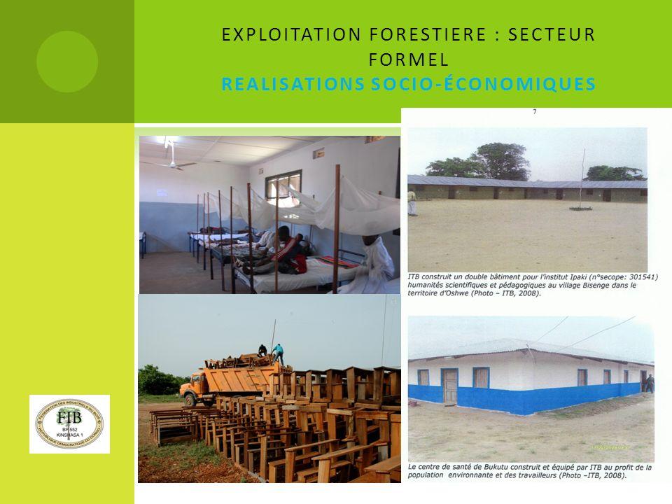 EXPLOITATION FORESTIERE : SECTEUR FORMEL REALISATIONS SOCIO-ÉCONOMIQUES