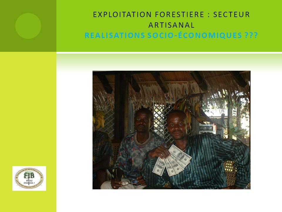 EXPLOITATION FORESTIERE : SECTEUR ARTISANAL REALISATIONS SOCIO-ÉCONOMIQUES ???