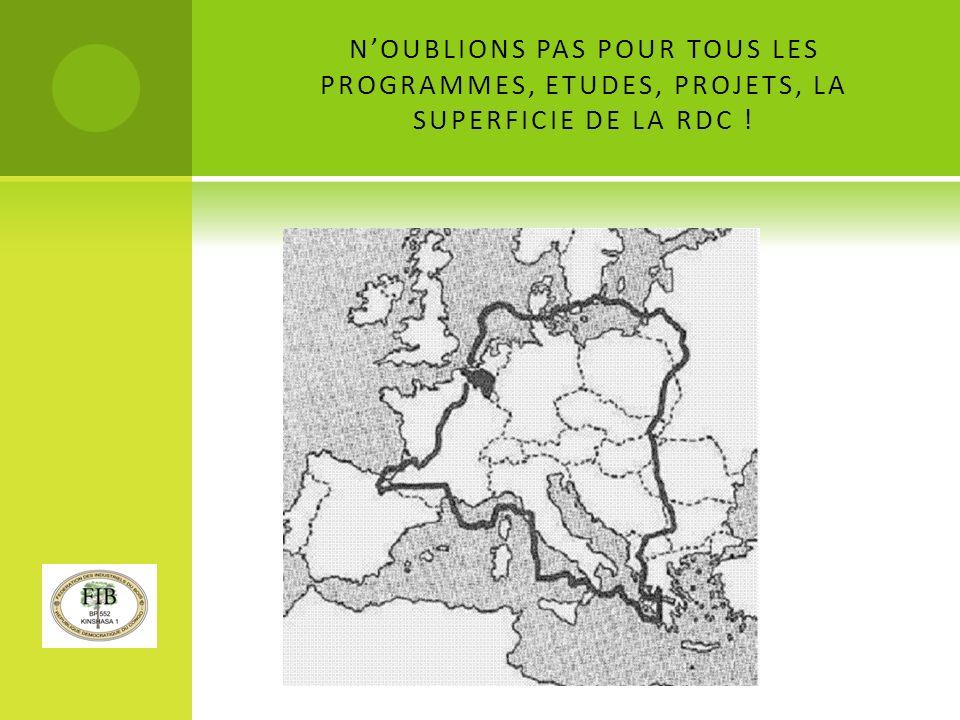 NOUBLIONS PAS POUR TOUS LES PROGRAMMES, ETUDES, PROJETS, LA SUPERFICIE DE LA RDC !