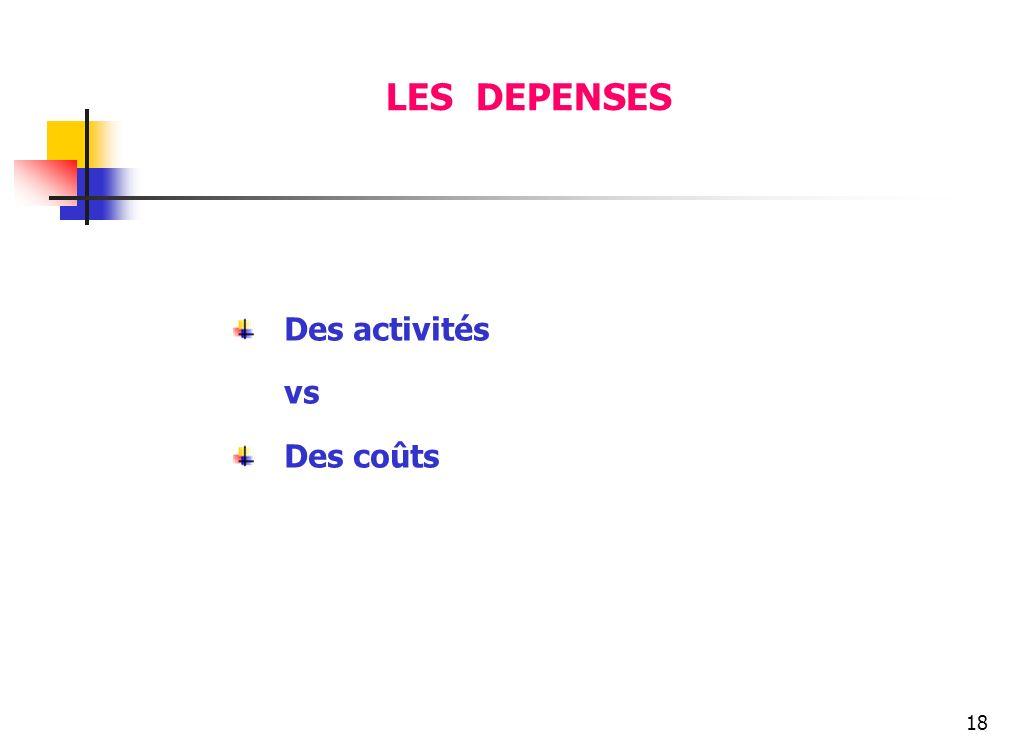 18 LES DEPENSES Des activités vs Des coûts